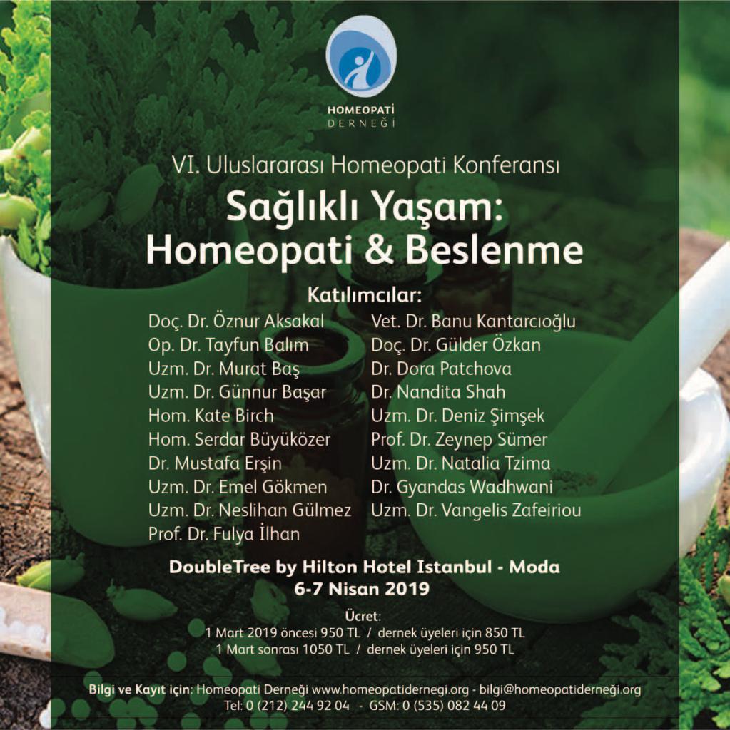 6-7 Nisan 2019 VI.Uluslararası Homeopati Konferansı